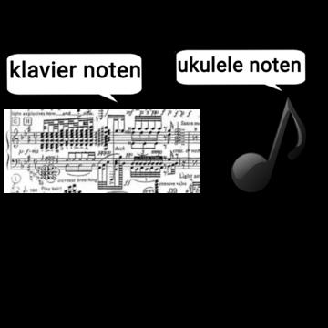 Klaviernoten und Ukulelenoten