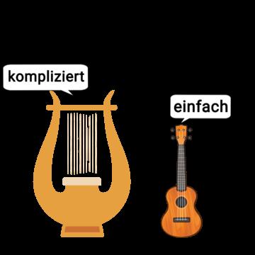 Ukulele und Harfe